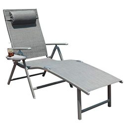GOLDSUN Aluminum Outdoor Folding Reclining Adjustable Chaise Lounge Chair for Outdoor Patio Beac ...