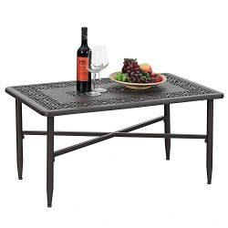 PHI VILLA 38.6″x23″ Outdoor Patio Retro Tea Table Cast Aluminum Rectangular Elegant  ...