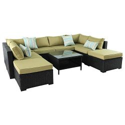 VALITA Patio PE Wicker Furniture Set 9 Pieces Outdoor Black Rattan Sectional Conversation Sofa C ...