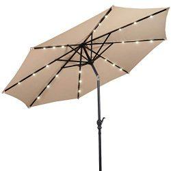 Giantex 10ft Solar Patio Umbrella Sunbrella with Lights, 8 Ribs Market Steel Tilt w/Crank for Ga ...