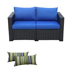 Rattaner Patio Wicker Furniture Outdoor Garden Love Seat Chair Couch Sofa Black with Blue Cushion