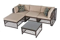 Outdoor Patio Furniture Rattan Sofa PE Wicker Sectional Sofa Set Beige Brown (5 pcs)