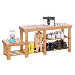 SONGMICS Bamboo Shoe Bench  Entryway Storage Rack with High and Low Levels for Adult and Child   ...