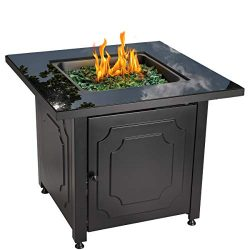 Blue Rhino Outdoor Propane Gas Fire Pit with Black Glass Top and Green Fire Glass – Add Wa ...