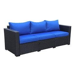 Patio PE Wicker Couch – 3-Seat Outdoor Black Rattan Sofa Furniture with Royal Blue Cushion