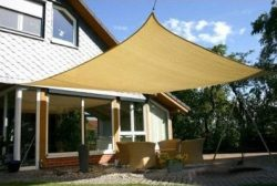 Durable Large PE Fabric 18x18Ft Square Desert Sand Outdoor Sun Shade Sail Canopy UV Protect Port ...
