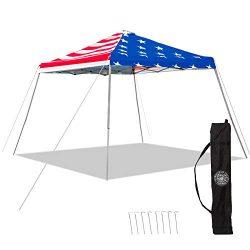 Punchau American Flag Pop Up Canopy Tent – UV Coated, Waterproof Instant Outdoor Gazebo Tent
