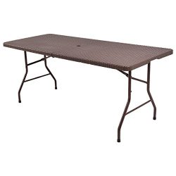 Tangkula 6′ Center Folding Table Portable Rattan Design Indoor Outdoor Use with Carrying H ...