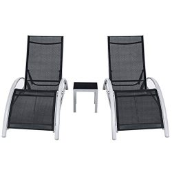 Giantex 3-Piece Chaise Lounge Set Aluminum Frame for Outdoor Patio Garden Yard Pool Furniture Ad ...