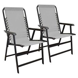 Caravan Canopy Infinity Suspension Steel Frame Folding Chair, Gray (2 Pack)