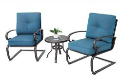 Incbruce Outdoor Bistro Set 3-Piece Spring Metal Lounge Cushioned Chairs and Bistro Table Set|Wr ...