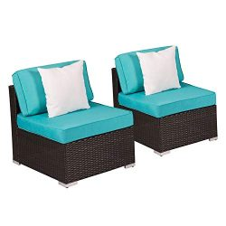 Kinsunny Peach Tree Outdoor Loveseat 2 PCs Patio Furniture Set, Wicker Armless Sofa Chairs Black ...