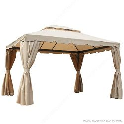 MASTERCANOPY Gazebo 10×12 Patio Rome Gazebo Canopy Soft Top with Mosquito Netting and Walls,GHGM ...