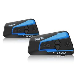 LEXIN 2pcs LX-B4FM Motorcycle Bluetooth Intercom with FM Radio, Motorcycle Helmet Bluetooth Head ...