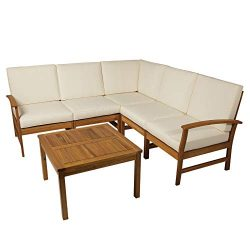 Outsunny 6 Piece Solid Acacia Wood L Shape Corner Sectional Sofa Furniture Set