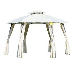 Outsunny 12′ x 9′ Steel Outdoor Patio Hexagon Gazebo Pavilion Canopy Tent with Curta ...