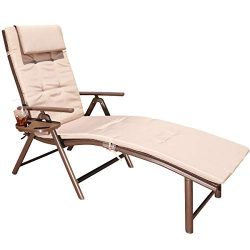 GOLDSUN Aluminum Outdoor Foldable Reclining Sun Lounger Adjustable Chaise Lounge Chair for Outdo ...