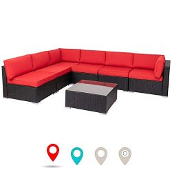 walsunny 7pcs Outdoor Black Rattan Sectional Sofa- Patio Wicker Furniture Set Conversation Sets  ...