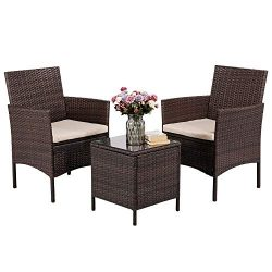 Yaheetech 3 Pieces Patio Furniture Sets PE Rattan Wicker Chairs Beige Cushion with Table Outdoor ...