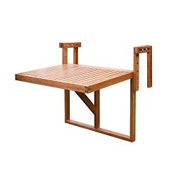 INTERBUILD Stockholm Balcony Folding Deck Table, Adjustable, FSC Acacia Wood, Golden Teak Color, ...