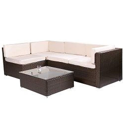 Esright 5 Pieces Patio PE Rattan Wicker Sofa Sectional Furniture (Brown)