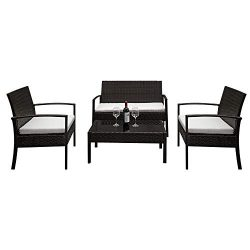 Lovinland Patio Furniture 4 Piece Rattan Outdoor Furniture Table Sofa Conversation Set with Cush ...