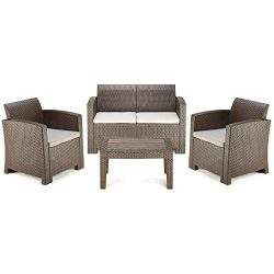 PAMAPIC 4 Piece Outdoor Patio Furniture Sets, All Weather Chair with Washable Cushion & Coff ...