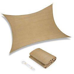 Sunkorto 12×16 Rectangle UV Block Sun Shade Sail Perfect for Outdoor Patio Garden Sand
