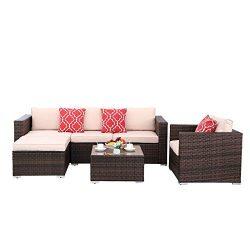Polar Aurora 6pcs Outdoor Patio Sofa Set PE Rattan Black Wicker Sectional Furniture Outside Couc ...