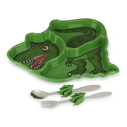 KidsFunwares Me Time Meal Set (T-Rex) – 3-Piece Set for Kids and Toddlers – Plate, F ...