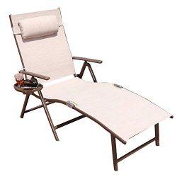 GOLDSUN Aluminum Outdoor Folding Reclining Adjustable Chaise Lounge Chair for Outdoor Patio Beac ...