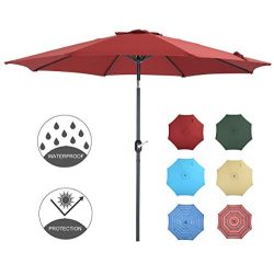 Patio Watcher 9 Feet Patio Umbrella Outdoor Umbrella with Push Button Tilt and Crank for Market, ...
