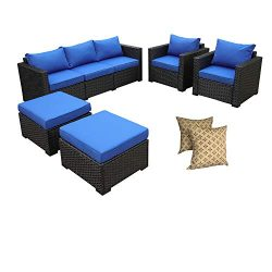 Rattaner Outdoor Wicker Sofa Set -5 Piece Patio PE Rattan Garden Sectional Conversation Cushione ...