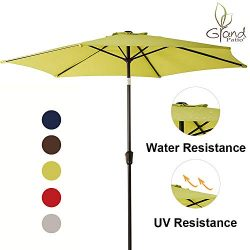 Grand Patio 9 FT Aluminum Patio Umbrella, UV Protected Outdoor Umbrella with Push Button Tilt an ...