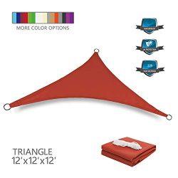 Tuosite Terylene Waterproof Sun Shade Sail UV Blocker Sunshade Patio Equilateral Triangle Knitte ...