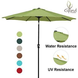 Grand Patio 9 FT Enhanced Aluminum Patio Umbrella, UV Protected Outdoor Umbrella with Auto Crank ...