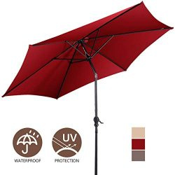 Giantex 10ft Outdoor Solar Patio Umbrella, Market Table Umbrella w/Tilt Adjustment and Crank, 18 ...