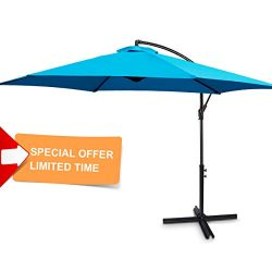 FRUITEAM 10-ft Offset Hanging Umbrellas, Outdoor Patio Garden Umbrellas Market Umbrella with Cra ...