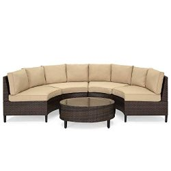 Best Choice Products 5-Piece Modern Outdoor Patio Semi-Circle Wicker Sectional Sofa Set w/ 4 Sea ...