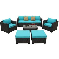 Patio Wicker Furniture Set 6 Piece Outdoor PE Rattan Conversation Couch Sectional Chair Sofa Set ...