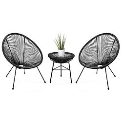 Best Choice Products 3-Piece Patio Woven Rope Acapulco Conversation Bistro Set Outdoor Furniture ...