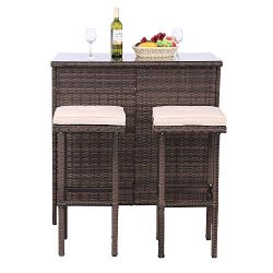 Polar Aurora 3PCS Outdoor Wicker Bar Set with Stools and Glass Top Table Patio Bar Furniture wit ...