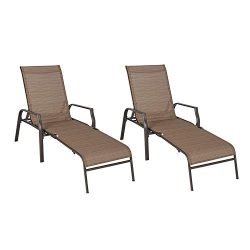 Ulax furniture Patio Chaise Lounge Folding Chairs (Set of Two)