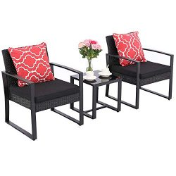 HTTH 3 Pieces Patio Chair Sets Outdoor Wicker Patio Furniture Sets Modern Bistro Set Rattan Chai ...