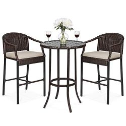 Best Choice Products 3-Piece Outdoor Wicker Table Bar Furniture Set for Patio, Garden, Poolside  ...