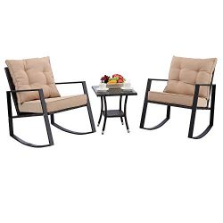 HTTH 3 Pieces Outdoor Rocking Chair Bistro Set Steel Furniture with Glass Coffee Table Thickened ...