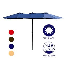 LOKATSE HOME Double-Sided Market Patio Outdoor Umbrella 15 Feet Garden Aluminum Twin Sun Canopy  ...