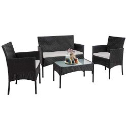 Walsunny 4 Pieces Outdoor Patio Furniture Sets Rattan Chair Wicker Set,Outdoor Indoor Use Backya ...