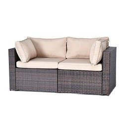 Gotland 2-Piece Outdoor PE Rattan Sectional Sofa- Patio Garden Wicker Furniture Set,Brown(2 Corn ...