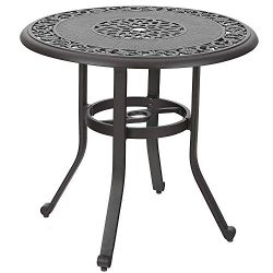 PHI VILLA 32″ Cast Aluminum Patio Outdoor Retro Bistro Table Round Dining Table with Frost ...
